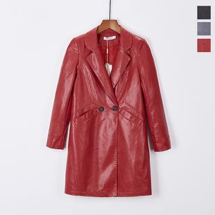 【女装】品牌折扣专柜正品不剪标春秋高档长款红黑灰pu皮风衣外套