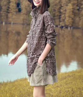 春装新款打底亚麻长袖衬衫女宽松气质大码显瘦上衣百搭复古中长款