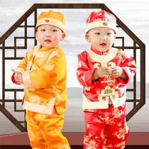 送鞋帽男童唐装套装冬宝宝百天周岁节日礼服小男孩抓周婴儿新年装