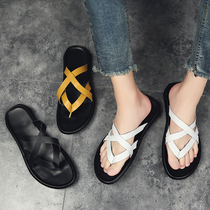 拖鞋 时尚 外穿软底舒适凉拖韩版 夏天流行男款 个性 室外夹脚创意潮拖