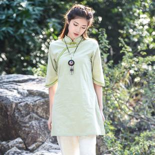 斜襟旗袍上衣女夏装中式棉麻唐装中长款复古禅意中国风女装禅茶服