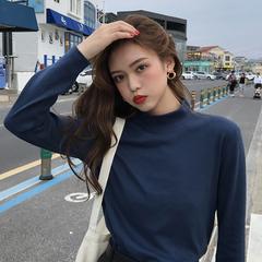 韩版chic修身显瘦半高领长袖T恤女春2019新款学生纯色打底衫上衣