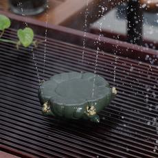 包邮宜兴精品紫砂喷水茶宠青蛙荷叶养壶垫壶托茶盘功夫茶道摆配件