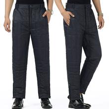 中老年男装 男士 长裤 冬季新款 子加厚保暖棉裤 内穿男式黑色羽绒裤