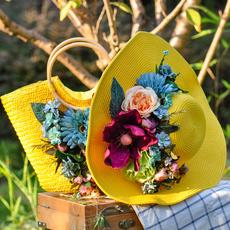 手工花朵草编包女草帽女夏天帽子遮阳防晒度假蜜月帽女包邮