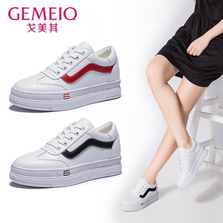 戈美其2018春季新品韩版小白鞋时尚学生松糕底板鞋系带拼色单鞋