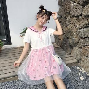 清纯女装夏天中裙短袖拼接条纹A型单件宽松娃娃领甜美可爱连衣裙