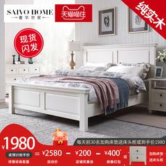 实木床1.8米美式家具白色橡木主卧床现代简约卧室纯实木1.5双人床