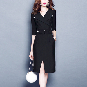 2018新款秋装<span class=H>女装</span>OL修身气质减龄连衣裙V领<span class=H>潮流</span>中长款包臀一步裙