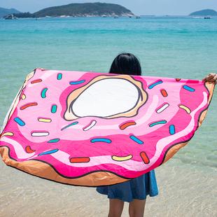 超大甜甜圈防晒披肩巾沙滩巾海边旅行运动游泳披纱超轻欧美布地垫