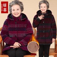 中老年人服装女式棉袄加绒加厚80老人保暖棉衣女60岁70老太太外衣