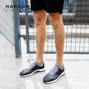 哈森 2018春季新品低跟系带圆头英伦时尚休闲运动鞋男MS85006