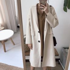 乡丫头女装秋冬新品韩版chic时尚气质宽松女中长款过膝呢子外套女