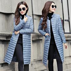 2017秋冬新款韩版立领轻薄过膝中长款羽绒服女士轻便修身显瘦外套