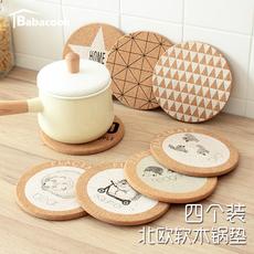 【巴巴库】4个装动物圆形软木隔热锅垫 北欧加厚软木防烫盘垫餐垫