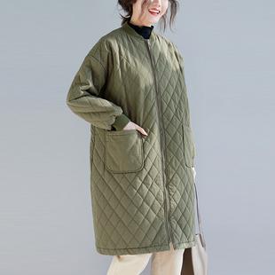布海  中长款大衣女2018冬季新款文艺宽松大码棉衣棒球领格子外套
