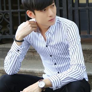 春季新款男士长袖衬衫韩版修身条纹衬衣潮流男装青年休闲格子寸衫