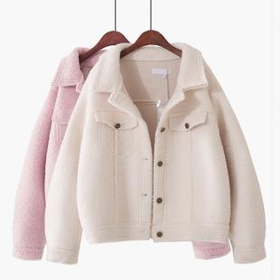2018秋冬新款韩版羊羔绒显瘦短款开衫麂皮毛呢加厚外套棉衣棉服女