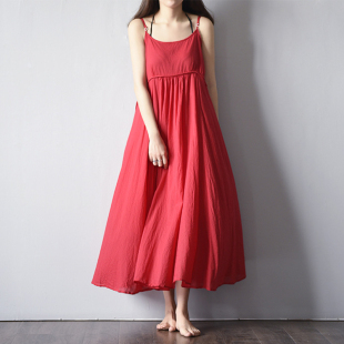 2019夏款小清新红色吊带连衣裙女纯棉a字无袖长裙背心裙打底裙