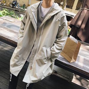 2018春季新款中长款风衣男士韩版宽松连帽薄款大衣外套帅气潮男装男士外套