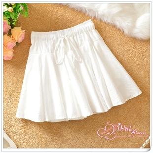 棉麻短裙夏季新款裙子学生半身裙裤女士高腰文艺小清新百褶蓬蓬裙