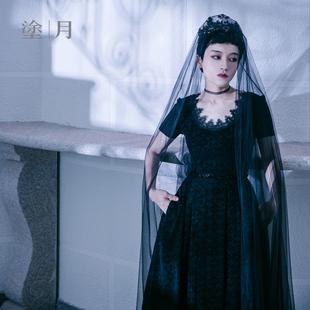涂月可定制 丝绒雕花小黑裙连衣裙赫本 高腰中长款大摆蓬蓬裙礼服