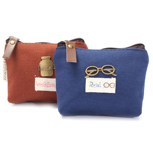 2017 Korean Women Vintage Canvas Coin Purse Zip Lady Mini Ke