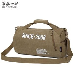 旅行包男圆筒包帆布女手提包短途轻便装衣服的包运动包训练健身包
