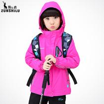 童装 2016秋冬外套新款 保暖防水两件套女童三合一儿童户外冲锋衣