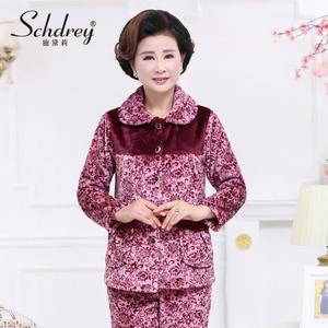 中老年人珊瑚绒睡衣女士法兰绒加厚家居服中年秋冬季妈妈套装大码连体睡衣
