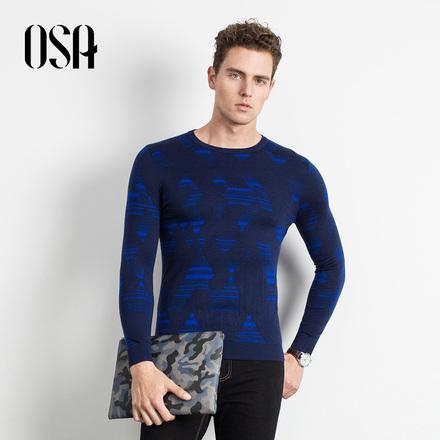 【买1送1】OSA欧莎2017冬装新款几何印花男士针织衫圆领套头毛衣