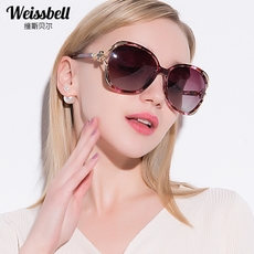 维斯贝尔偏光太阳镜女士时尚大框圆脸优雅镶钻墨镜个性前卫眼镜潮