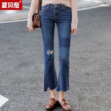 夏贝尼破洞牛仔喇叭裤女九分裤新款韩版显瘦裤子毛边百搭微喇裤