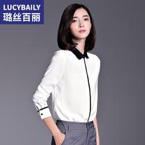 新款 女长袖 撞色设计衬衣2018春装 娃娃领白衬衫 职业装 女士雪纺上衣