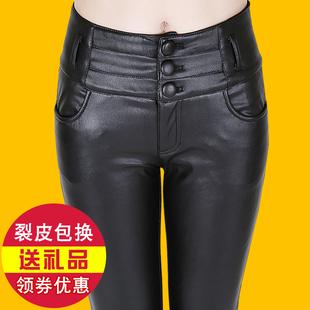 2016秋冬季新款加绒PU皮裤女加厚显瘦亚光高腰韩版修身外穿打底裤