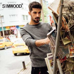Simwood 6色可选 秋冬新款男士卷边套头修身打底针织衫圆领毛衣男毛衣男