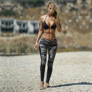 Women Leggings High Elastic Skinny Camouflage yoga pants裤