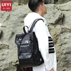 佑一良品日本潮牌双肩包男女时尚潮流黑背包翻盖涤纶学生电脑书包