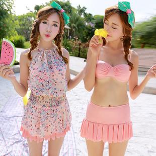 韩国bikini游泳衣女分体裙式比基尼三件套小胸聚拢钢托圈遮肚泳装