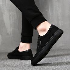帆布鞋男秋季休闲鞋男士布鞋黑色新款百搭男鞋韩版潮流学生小黑鞋