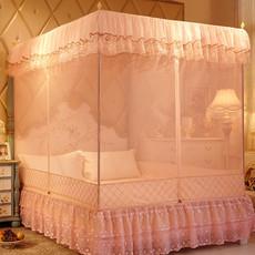 蚊帐三开门拉链1.8m床蒙古包双人方顶不锈钢1.2米家用宫廷1.5m床