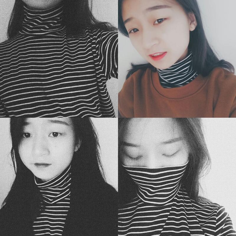韩国ulzzang秋冬黑白条纹t恤女长袖宽松韩版高领打底衫女春季上衣女士T恤