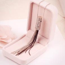 欧美时尚大牌个性简单长款项链女气质百搭链条流苏吊坠毛衣链配饰