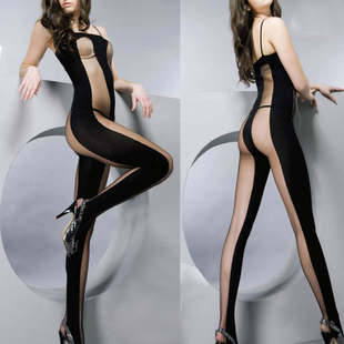 Hot Sexy Striped Bodystocking Open Crotch Lingerie Fishnet M