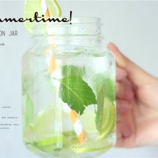 梅森瓶 我是歌手同款 密封罐创柠檬杯玻璃杯送吸管 冷水杯