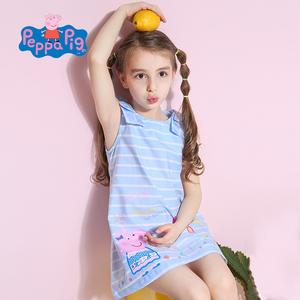 小猪佩奇童装女童夏装时尚纯棉佩奇印花连衣裙公主裙儿童连衣裙