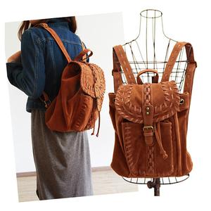 英伦复古风双肩包欧美时尚潮流手工编织款森女日系小背包书包