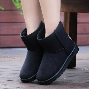 防滑驼色雪地靴女鞋靴短靴女平底棉靴秋冬季加厚绒保暖黑色棉鞋