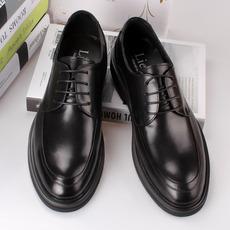 男士皮鞋 真皮系带英伦圆头大码男鞋婚鞋春季正装皮鞋男 商务皮鞋