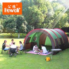 公狼帐篷户外3-4人一室两厅5-8人超大隧道帐篷防暴雨野营装备露营